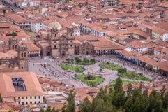 Aerial view of Plaza de Armas in Cusco, Peru Stock Images