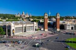 Aerial view of Plaza de Espanya Square, Barcelona, Catalonia, Sp stock photos