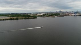 Aerial view of pleasure boat Delaware River in Philadelphia. Aerial View of Pleasure Boat Delaware River Philadelphia stock video
