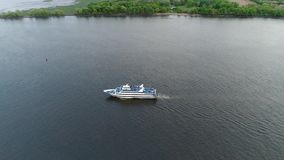 Aerial View of Pleasure Boat Delaware River Philadelphia.  stock video
