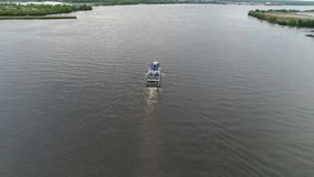 Aerial View of Pleasure Boat Delaware River Philadelphia.  stock video footage
