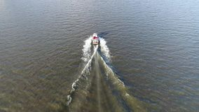 Aerial View Pleasure Fishing Boat Delaware River. Philadelphia stock footage