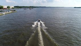 Aerial View of Pleasure Fishing Speed Boat Delaware River Philadelphia Royalty Free Stock Photography