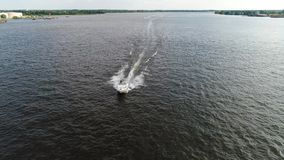 Aerial View of Pleasure Fishing Speed Boat Delaware River Philadelphia.  stock footage