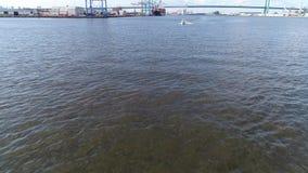Aerial View of Pleasure Fishing Speed Boat Delaware River Philadelphia stock footage