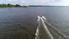 Aerial View of Pleasure Fishing Speed Boat Delaware River Philadelphia stock video