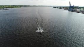 Aerial View of Pleasure Fishing Speed Boat Delaware River Philadelphia stock video footage