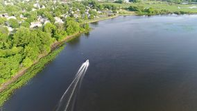 Aerial View of Pleasure Fishing Speed Boat Delaware River Philadelphia.  stock video