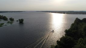 Aerial View of Pleasure Fishing Speed Boat Delaware River Philadelphia.  stock video footage