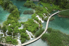Aerial View of Plitvice national park. Multiple beautiful waterfalls surrounded by exuberance of vegetation fall down from one turquoise lake into another Royalty Free Stock Images