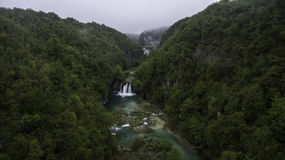 Aerial view on Plitvice National Park waterfalls Stock Photos