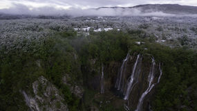 Aerial view on Plitvice National Park waterfalls Royalty Free Stock Image