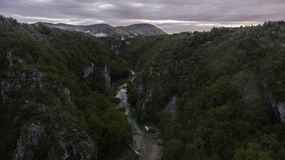 Aerial view on Plitvice National Park waterfalls Royalty Free Stock Photo