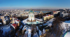 Aerial view of Podol and St. Andrew's church in Kiev. Ukraine Stock Photos
