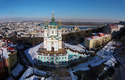 Aerial view of Podol and St. Andrew's church in Kiev Royalty Free Stock Image