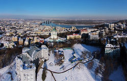 Aerial view of Podol and St. Andrew's church in Kiev Stock Images