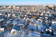 Podolsk cityscape abd real esate on winter sunny morning. Aerial view of Podolsk cityscape abd real esate on winter sunny morning royalty free stock photo