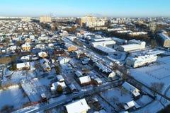 Podolsk cityscape abd real esate on winter sunny morning. Aerial view of Podolsk cityscape abd real esate on winter sunny morning royalty free stock image