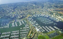 Aerial view of Point Loma San Diego. Aerial view of the Marina in Point Loma peninsula, San Diego, Southern California, United States of America. A view of Stock Image