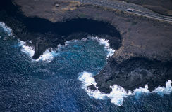 Aerial view of Pointe des chateaux Reunion island Stock Photo