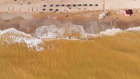 Aerial view of the polluted sea coast. Muddy sea water. Chemical disaster. Drone. Aerial view of clay-polluted sea coast. Muddy sea water. Environmental stock video