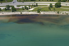 Aerial View of Pollution in Drinking Water Source Stock Photo