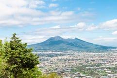 Aerial view on Pompeii with Vesuvius stock photo