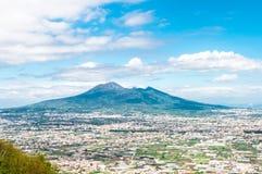 Aerial view on Pompeii with Vesuvius Stock Image