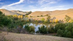 Aerial view of a pond in Garin Dry Creek Pioneer Reginal Park. During golden hour, East San Francisco bay, California Stock Images