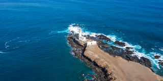Aerial view of Ponta Temerosa lighthouse farol in the city of Pr Stock Photography