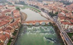 Aerial view of Ponte Pietra Stock Images