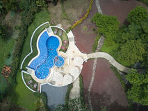 Aerial view on pool with blue water royalty free stock image