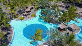 Aerial view on pool in the hotel stock footage