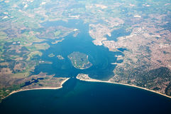 Aerial view of poole in dorset uk. The little planet from above the jurassic coast in dorset uk stock photos