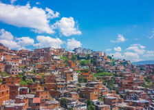Aerial View of Poor Town in Medellin. Aerial view from cableway of houses and mountains in a poor zone in the city of Medellin,one of the most important cities stock photo