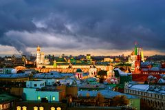 Aerial view of popular landmarks - Kremlin walls, Saint Basil Cathedral and others - in Moscow, Russia. Moscow, Russia. Aerial view of popular landmarks Stock Images