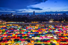 Aerial view popular Night market Royalty Free Stock Photos