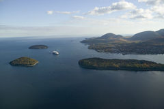 Aerial view of Porcupine Islands, Frenchman Bay and Holland America cruise ship in harbor, Acadia National Park, Maine Royalty Free Stock Image