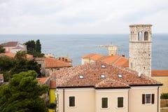 The aerial view of Porec city with the Adriatic sea Stock Photos