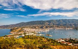 Aerial view on Poros and Galatos Royalty Free Stock Image