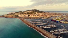Aerial view of port area stock footage