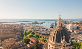 Aerial view on the port of Catania stock photos