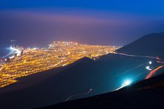 Aerial view of the port city of Iquique in the coast of the Atacama desert. At dawn, Chile stock photography