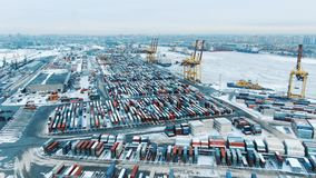 Aerial view port container terminal container ship in import export and business logistic at Deep water port.  stock video
