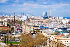 Aerial view of port district at Barcelona Stock Photo