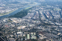 Aerial view Port Dusseldorf Royalty Free Stock Photo