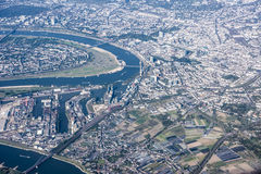 Aerial view Port Dusseldorf on River Rhine Royalty Free Stock Photography