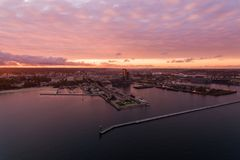 Port of Gdynia at sunset, top view Royalty Free Stock Photos