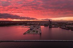 Port of Gdynia at sunset, top view Royalty Free Stock Photography