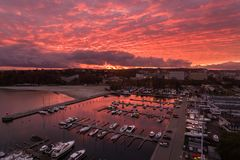 Port of Gdynia at sunset, top view Royalty Free Stock Photo